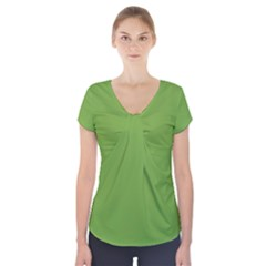 Sushi Green Colour Short Sleeve Front Detail Top