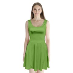 Sushi Green Colour Split Back Mini Dress