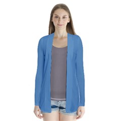 Steel Blue Colour Drape Collar Cardigan