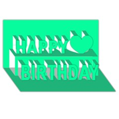 Spring Green Colour Happy Birthday 3D Greeting Card (8x4)