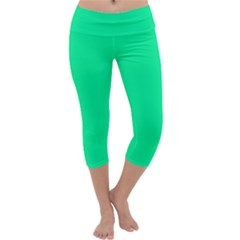 Spring Green Colour Capri Yoga Leggings
