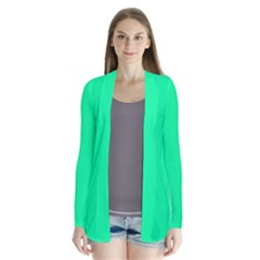 Spring Green Colour Drape Collar Cardigan