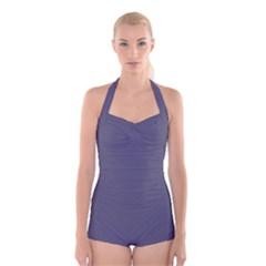 Smoky Blue Colour Boyleg Halter Swimsuit