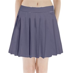 Smoky Blue Colour Pleated Mini Skirt