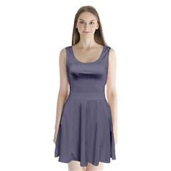 Smoky Blue Colour Split Back Mini Dress