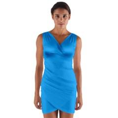 Sky Blue Colour Wrap Front Bodycon Dress