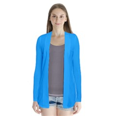 Sky Blue Colour Drape Collar Cardigan