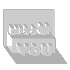 Silver Colour Miss You 3D Greeting Card (7x5)