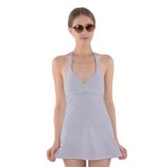 Silver Colour Halter Swimsuit Dress