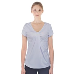 Silver Colour Short Sleeve Front Detail Top