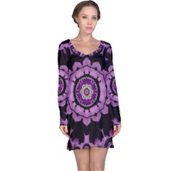 Decorative Leaf On Paper Mandala Long Sleeve Nightdress