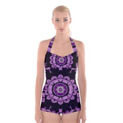 Decorative Leaf On Paper Mandala Boyleg Halter Swimsuit