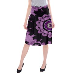 Decorative Leaf On Paper Mandala Midi Beach Skirt