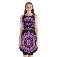 Decorative Leaf On Paper Mandala Sleeveless Chiffon Dress