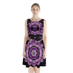 Decorative Leaf On Paper Mandala Sleeveless Chiffon Waist Tie Dress