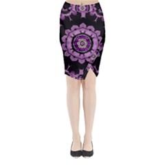 Decorative Leaf On Paper Mandala Midi Wrap Pencil Skirt