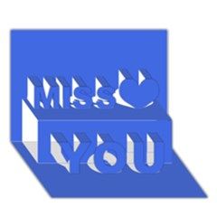 Royal Blue Colour Miss You 3D Greeting Card (7x5)