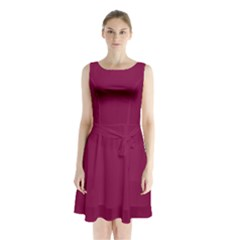 Rose Bud Cherry Colour Sleeveless Chiffon Waist Tie Dress