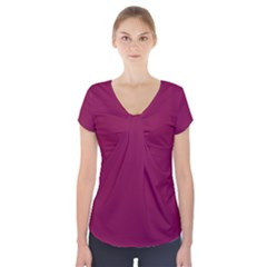 Rose Bud Cherry Colour Short Sleeve Front Detail Top