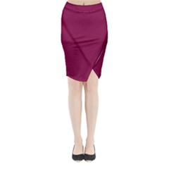 Rose Bud Cherry Colour Midi Wrap Pencil Skirt