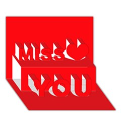 Red Colour Miss You 3D Greeting Card (7x5)
