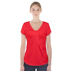 Red Colour Short Sleeve Front Detail Top