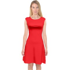 Red Colour Capsleeve Midi Dress