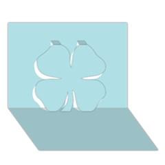 Powder Blue Colour Clover 3D Greeting Card (7x5)