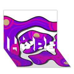 Purple graffiti HOPE 3D Greeting Card (7x5)