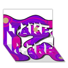 Purple graffiti TAKE CARE 3D Greeting Card (7x5)