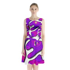 Purple graffiti Sleeveless Chiffon Waist Tie Dress