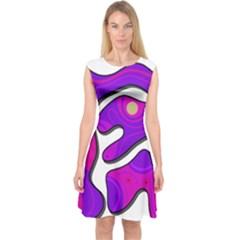Purple Graffiti Capsleeve Midi Dress