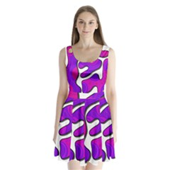 Purple Graffiti Split Back Mini Dress