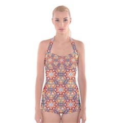Sacred Geometry Pattern Boyleg Halter Swimsuit