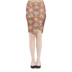 Sacred Geometry Pattern Midi Wrap Pencil Skirt