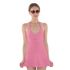 Pink Salmon Colour Halter Swimsuit Dress