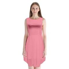 Pink Salmon Colour Sleeveless Chiffon Dress