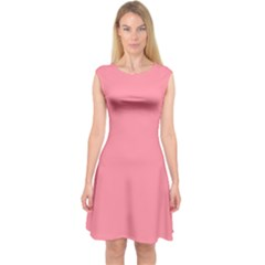 Pink Salmon Colour Capsleeve Midi Dress