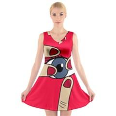 Poke in the eye V-Neck Sleeveless Skater Dress