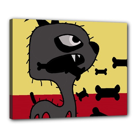 Angry little dog Canvas 20  x 16
