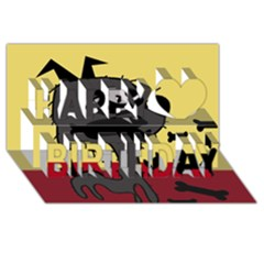 Angry little dog Happy Birthday 3D Greeting Card (8x4)