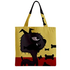 Angry little dog Zipper Grocery Tote Bag