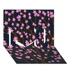 Japanese Tree  I Love You 3d Greeting Card (7x5)