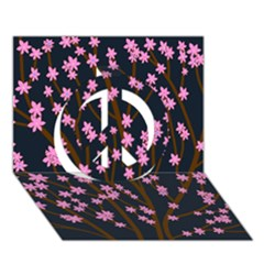 Japanese tree  Peace Sign 3D Greeting Card (7x5)