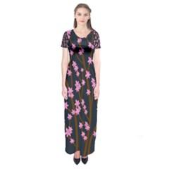 Japanese tree  Short Sleeve Maxi Dress