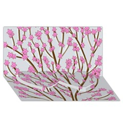 Cherry tree Twin Heart Bottom 3D Greeting Card (8x4)