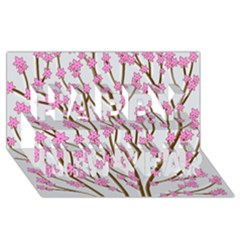 Cherry tree Happy New Year 3D Greeting Card (8x4)