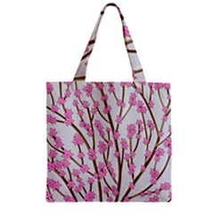 Cherry tree Zipper Grocery Tote Bag