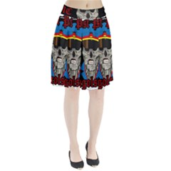 Otto3 Sticker 03 Circle And Black Frames Pleated Skirt