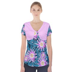 Whimsical Garden Short Sleeve Front Detail Top
